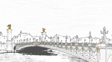 Sketch illustration of Pont Alexandre III on Seine River with Petit Palais in background - Paris France