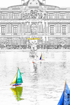 Illusration of Toys boats in the pool in front of the Luxembourg Palace in the Luxembourg Garden - Paris, France. Luxembourg Palace is the home of the French Senate.