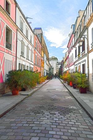 Paris, France - September 08, 2018: Colored houses in Rue Cremieux - Paris