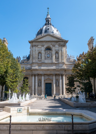 Paris, France - August 18, 2018: Tower of the Sorbonne University in Paris - France. It is loocated in the Latin Quarter.