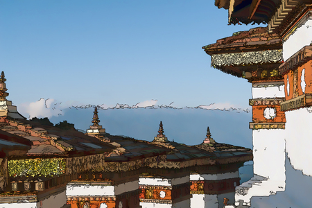 Illustration, in cartoon style, of Dochula Pass with Himalaya in background - Bhutan Editorial