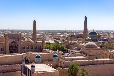 Panoramic view of Islam Khoja Minaret-Mosque and Citadel Kunya-ark in Itchan Kala, the inner town of the city of Khiva - Uzbekistan Editorial