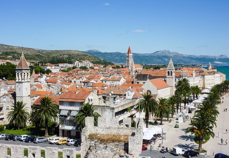 Trogir seafront promenade - Dalmatia, Croatia. The historic city of Trogir is situated on a small island between the Croatian mainland and the island of Ciovo.
