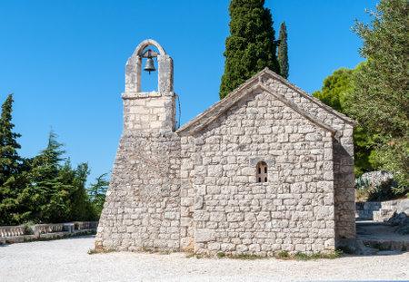 Nikole Putnika small stone church with bell tower on Marjan hill - Near Split, Dalmatia, Croatia