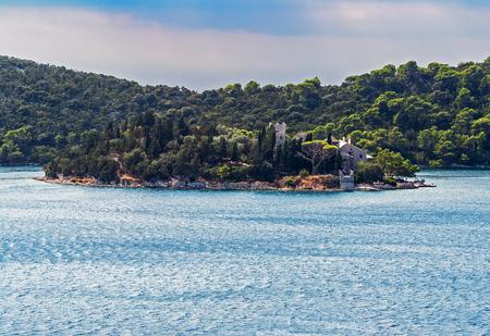 Saint Mary monastery on a little island in Mljet national park - Croatia Stock Photo
