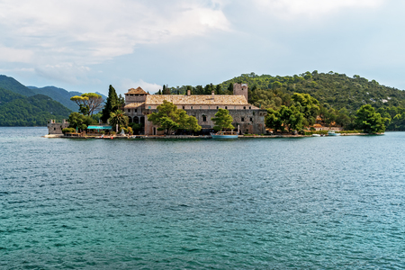 Saint Mary monastery on a little island in Mljet national park - Croatia Editorial