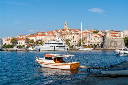 Marina of Korcula city - Korcula island, Croatia. Korcula island lies just off the Dalmatian coast.