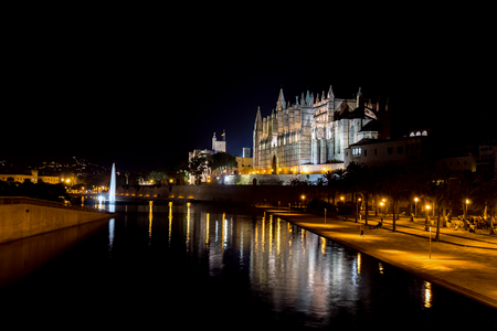Night panoramic of the Cathedral of Palma de Mallorca and the Almudaina Palace with its illuminated fountain - Balearic Islands, Spain. Lights are reflecting on the pool.