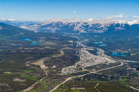 Bird view of Jasper town from the top of Whistler mountain - Jasper national park, Alberta, Canada