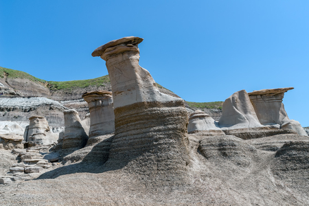 Hoodoos, a geologic formation in the badlands near Drumheller - Alberta, Canada