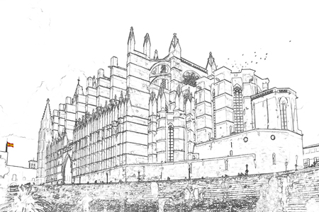 Illustration, in sketch style, of La Seu, the Cathedral of Santa Maria of Palma. It is a Gothic Roman Catholic cathedral located in Palma de Mallorca - Balearic Islands, Spain Stock Photo
