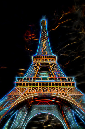 Illustration of Eiffel Tower with dramatic sky - Paris, France