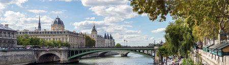 Paris, France - September 15, 2018: Panoramic of the Tribunal de Commerce, the Conciergerie and Pont Notre Dame on the Ile de la Cite in Paris, France Editorial