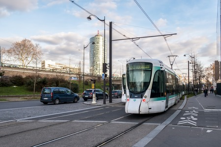 Paris, France - February 12, 2019: Tramway line T2 leaving station Suzanne Lenglen Editorial
