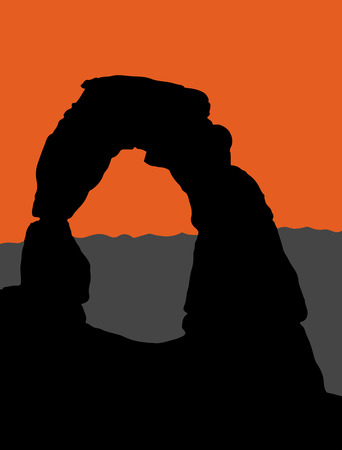 Vector illustration of Delicate Arch in Arches National Park - Utah, USA. Silhouette illustration with moutains in background.