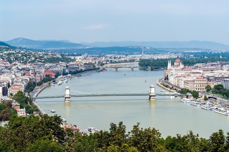 Panoramic skyline view of the Danube in Budapest with famous Szechenyi Chain Bridge, Margaret Bridge and Parliament of Hungary - Budapest, Hungary