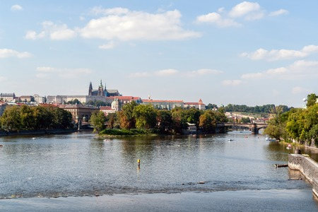 Legion Bridge, aka Most legii, on Vltava river with castle in background - Prague, Czech Republic Фото со стока