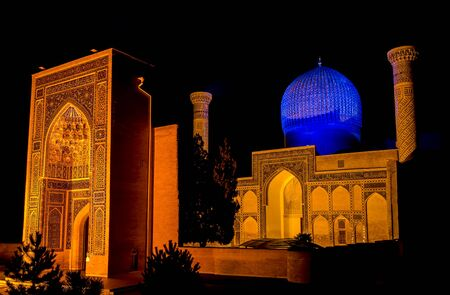 Gur-e Amir mausoleum of Timur at night - Samarkand, Uzbekistan. Its architectural complex contains the tombs of Tamerlane, his sons and grandsons. 스톡 콘텐츠