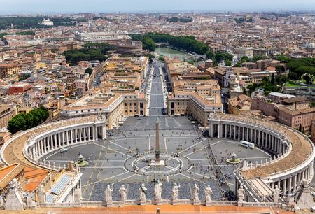 Saint Peter's Square in Vatican and aerial view of Rome - Italy.
