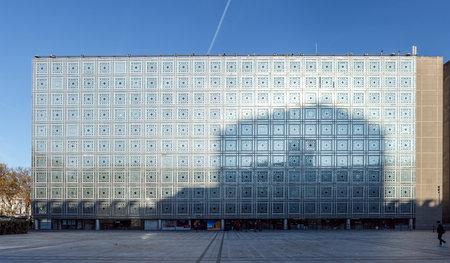 Paris, France - November 20 2019: Facade of the Arab World Institute (Institut du Monde Arabe) building in autumn at golden hour