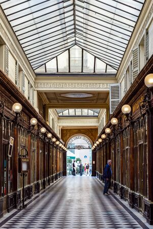 Paris, France - September 02 2019: Galerie Vero-Dodat. It is a famous historical covered passage built in 1826.
