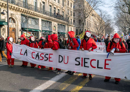 Paris, France - January 24 2020: Protest against the retirement pension reform of President Macron - Banner with the slogan Editorial