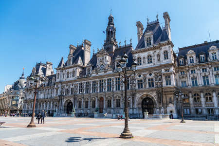 Paris, France - May 15 2020: Paris City Hall (Hotel de Ville)