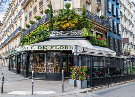 Paris, France - March 15 2020: Cafe de Flore closed in order to stop the spread of Coronavirus epidemic.