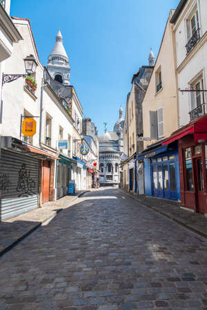 Paris, France - May 15 2020: Empty street in Montmartre during coronavirus epidemic in Paris Editorial