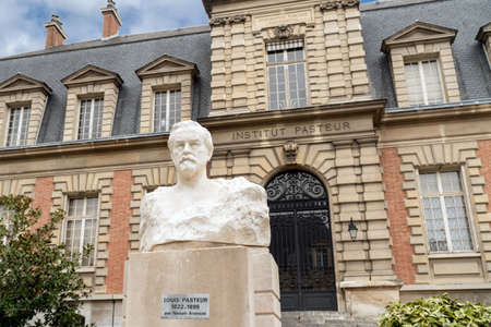 Paris, France - February 09 2020: Pasteur bust in front of the Old building of the Pasteur institute in Paris. Sculpture is from Naoum Aronson (1872 1943) Editorial