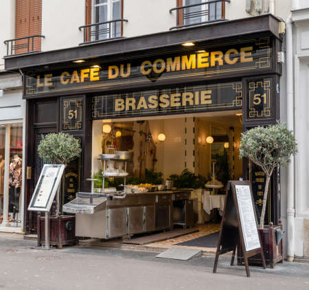 Paris, France - February 13 2020: Famous Cafe du Commerce brasserie in Paris