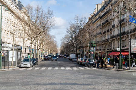 Paris, France - February 21 2020: View of Kleber Avenue from the Trocadeo square with arc de tromphe in background