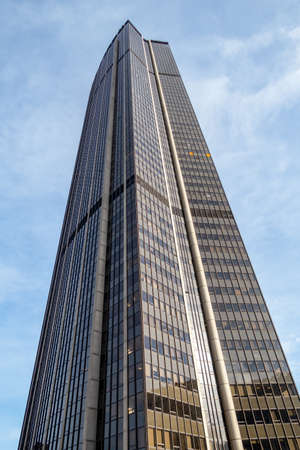 Paris, France - November 22 2019: Montparnasse tower in the center of Paris, France