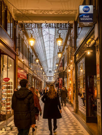 Paris, France - December 17 2019: Passage Jouffroy - Shopping area and location of Hotel Chopin