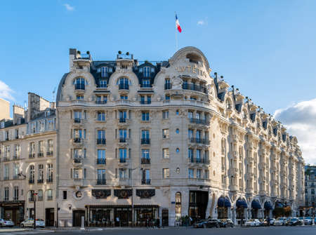 Paris, France - December 25 2019: Famous 5 star hotel Lutetia in Saint Germain district