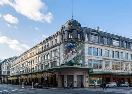 Paris, France - December 25 2019: Le Bon Marche department store