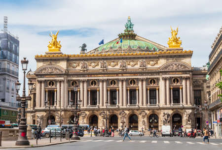 Paris, France - May 12 2020: Opera Garnier and The National Academy with car traffic