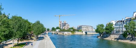 Panoramic of Notre Dame de Paris cathedral reconstruction site in May 2020. Zdjęcie Seryjne