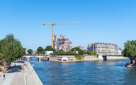 Notre Dame de Paris cathedral reconstruction site in May 2020.