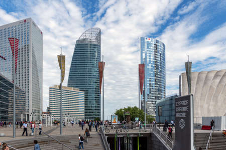 Paris, France - September 04, 2019: La Defense Business district near Paris in summer Editorial
