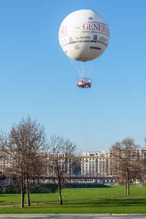 Paris, France - December 30 2019: Hot air balloon in Parc Andre Citroen Editorial