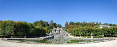 France, Saint-Cloud - September 04 2019: Panoramic view of the Grande Cascade Pond in the Parc de Saint-Cloud near Paris - France. Editorial