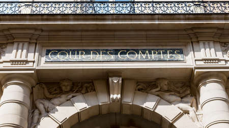 Paris, France - April 14, 2019: Court of Audit (Cour des comptes) at Rue Cambon in Paris. It is a French administrative court charged with conducting financial audits of most public institution
