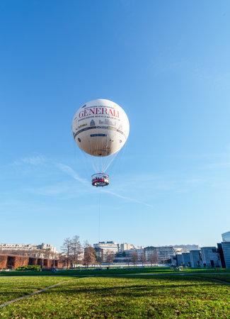 Paris, France - December 30 2019: Hot air balloon in Parc Andre Citroen Editorial