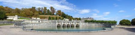 France, Saint-Cloud - September 04 2019: Panoramic of the Horseshoe Pond at the Parc de Saint-Cloud near Paris - France.