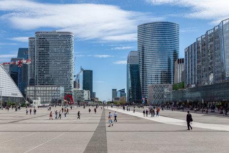 Paris, France - September 04, 2019: View of La Defense Business district near Paris