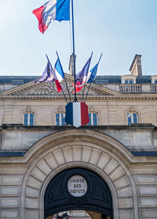 Paris, France - April 11, 2019: Facade of the Caisse des Depots et Consignations in Paris. The CDC is a French financial organization under the control of the Parliament.