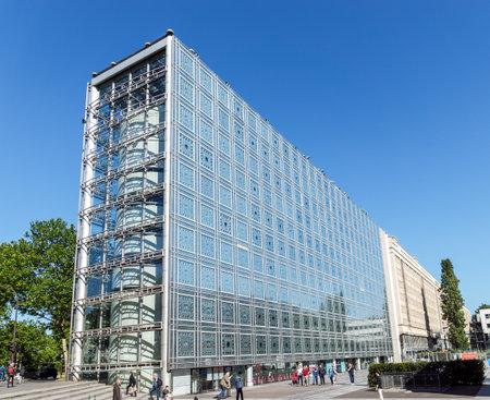Paris, France - May 14, 2019: Arab World Institute (Institut du Monde Arabe) building Editorial