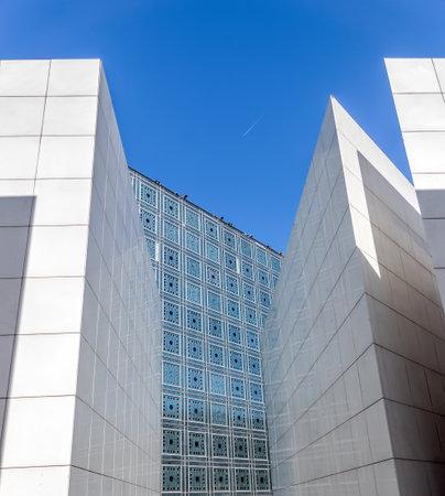 Paris, France - May 14, 2019: Arab World Institute (Institut du Monde Arabe) building