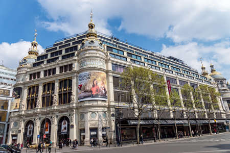 Paris, France - April 14, 2019: Printemps Department Store facade. It was founded in 1865 and is registered as Historic Monument. Editorial